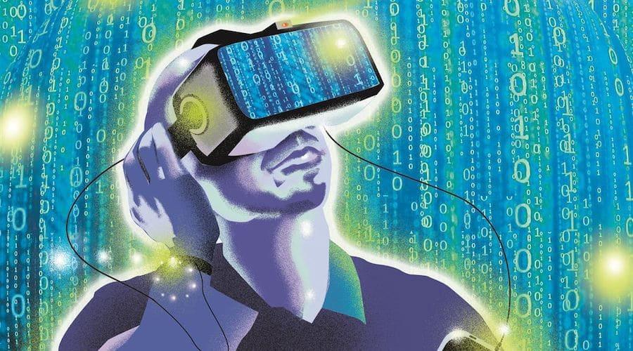 dessin d'un homme utilisant un casque de realite virtuelle